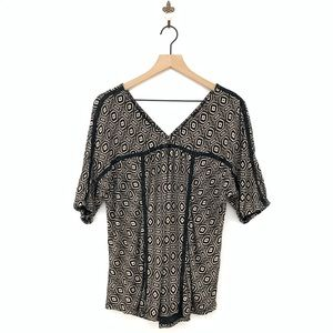 Lucky Brand Diamond Print Knit Top Large Black